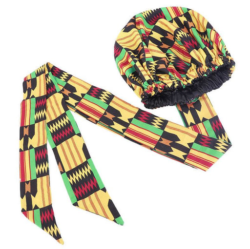 African Print Satin Bonnet with Long Ribbon Head Wrap