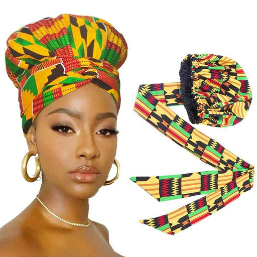 African Print Satin Bonnet with Long Ribbon Head Wrap - Shop Sassy Chick
