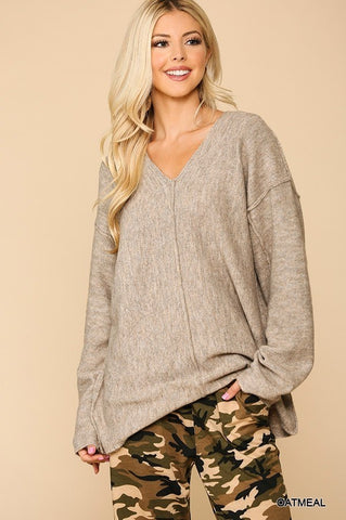Soft Sweater With Cut Edge