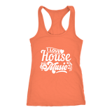 I Love House Music Racerback Tank Top - Orange  | Shop Sassy Chick
