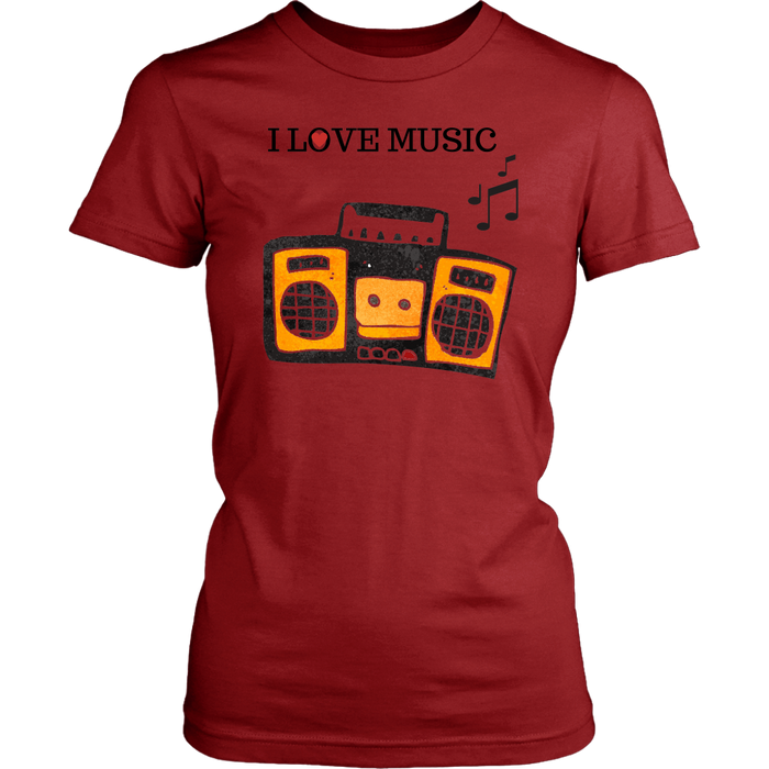 I Love Music Women's Unisex T-Shirt - Red| Shop Sassy Chick