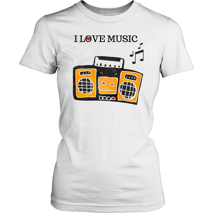 I Love Music Women's Unisex T-Shirt - White | Shop Sassy Chick