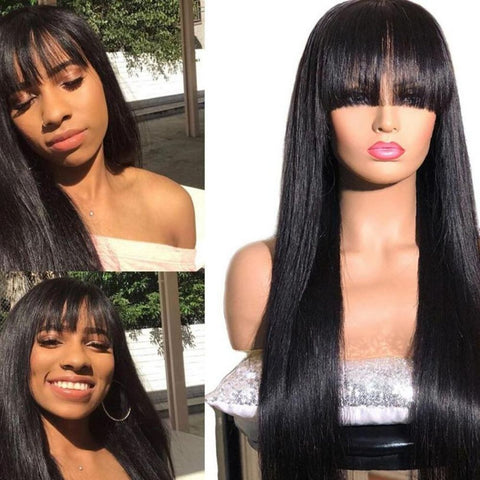 13x6 Lace Front Human Hair Wigs With Bangs