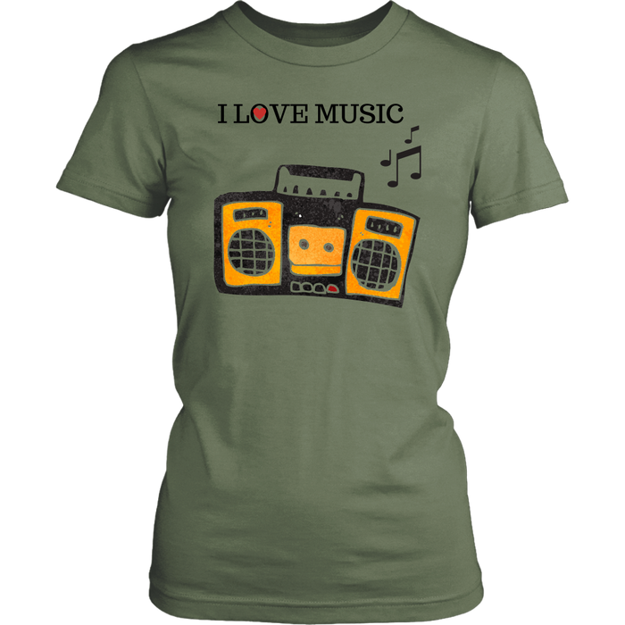 I Love Music Women's Unisex T-Shirt - Fatigue| Shop Sassy Chick