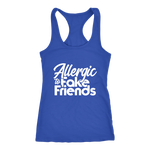 Allergic To Fake Friends Racerback Tank Top - Blue | Shop Sassy Chick