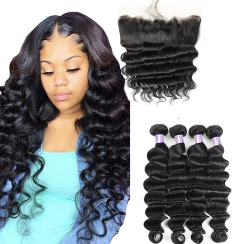 Loose Deep Bundles With 13x4 Lace Frontal