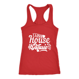I Love House Music Racerback Tank Top - Red | Shop Sassy Chick