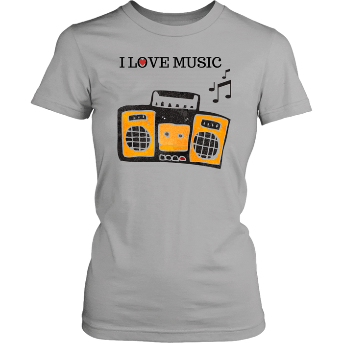I Love Music Women's Unisex T-Shirt - Grey | Shop Sassy Chick