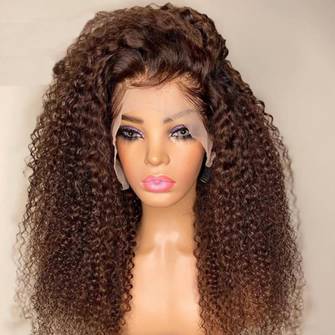 Brown Kinky Curly Human Wigs With Baby Hair