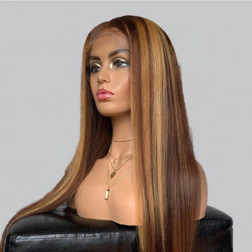 Honey Blonde Brown Highlight Lace Front Human Hair Wigs - Shop Sassy Chick