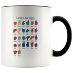 Learn ASL Ceramic Accent Mug - Black | Shop Sassy Chick