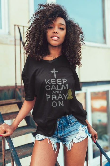 Keel Calm And Pray On V-Neck - Shop Sassy Chick