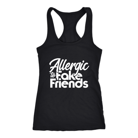 Allergic To Fake Friends Racerback Tank Top - Black | Shop Sassy Chick