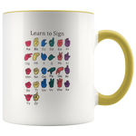 Learn ASL Ceramic Accent Mug - Yellow | Shop Sassy Chick