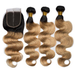 1B 27 Green 99j Ombre Body Wave Bundle With Closure