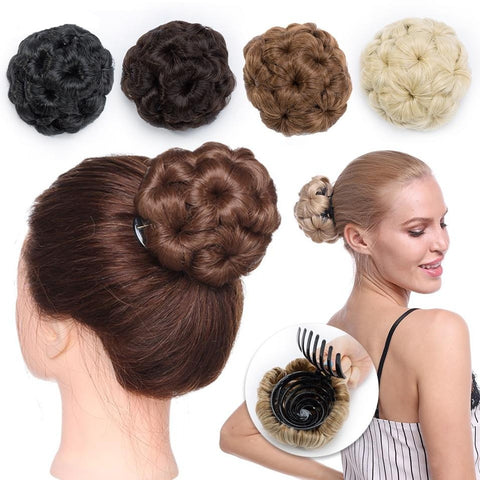Curly Chignon Hair Bun Donut Clip In Hairpiece Extensions Synthetic