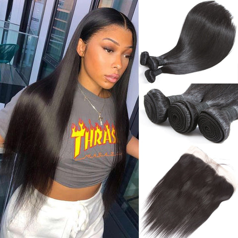 Straight Hair Bundles With Frontal Closure