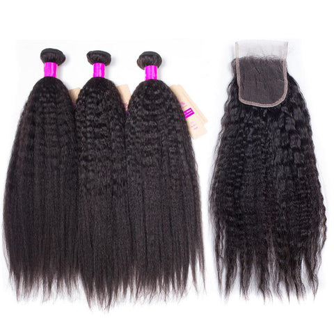 Kinky Straight Hair Bundles With Closure
