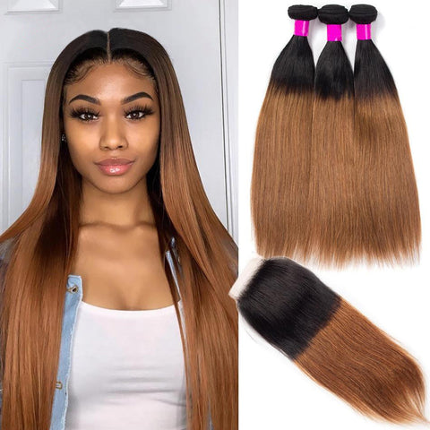 Ombre Bundles With Closure 1B 30 Straight Hair With Closure