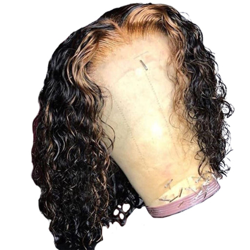 Honey Blonde Curly Lace Front Wig Ombre