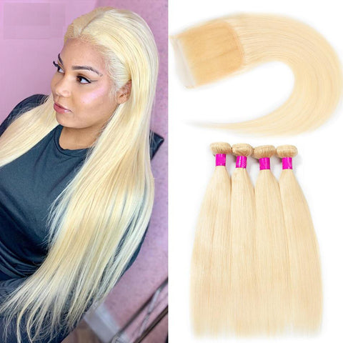 Blonde 613 Bundles Brazilian Hair Weave With Closure