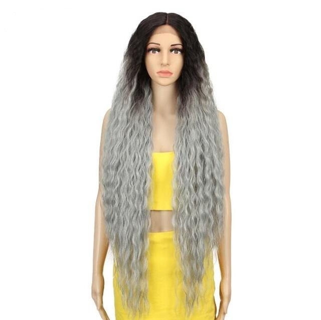 Synthetic Lace Long Curly Hair Blonde Ombre 42 Inch