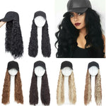 Synthetic Baseball Cap Wig Hat With Hair Water Wave