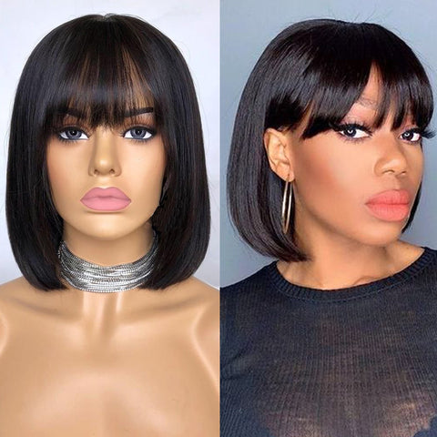 Short Bob Lace Front Wigs with Hair Bangs