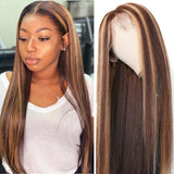 Honey Blonde Brown Highlight Lace Front Human Hair Wigs