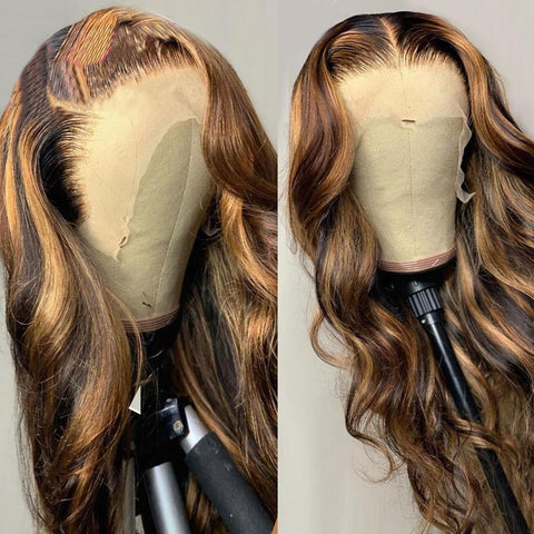 Honey Blonde Highlight Lace Front Wig