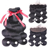 Brazilian Human Hair Weaves Body Wave Bundles With Frontal