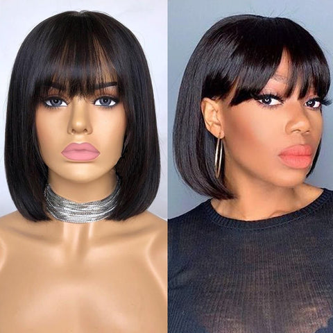Lace Front Straight Bob 150% Density Human Hair Wig