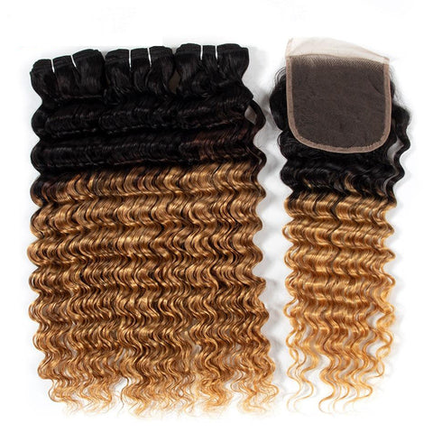 1B27 Honey Blonde Colored Ombre Bundles With Closure