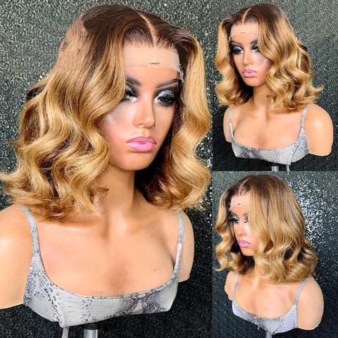 Brown Ombre Honey Blonde Lace Front Human Hair Wigs