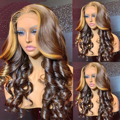 Ombre Honey Blonde Lace Front Wavy Human Hair Wigs