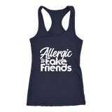Allergic To Fake Friends Racerback Tank Top - Navy | Shop Sassy Chick