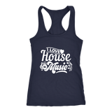 I Love House Music Racerback Tank Top - Navy | Shop Sassy Chick