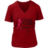 Slay Sassy Chick Women's V- Neck Tee -Red | Shop Sassy Chick