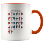Learn ASL Ceramic Accent Mug - Orange | Shop Sassy Chick