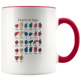 Learn ASL Ceramic Accent Mug - Red | Shop Sassy Chick