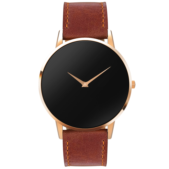 The Ares Rose Gold- Mens watch 45mm Brown Band Rose Gold Case