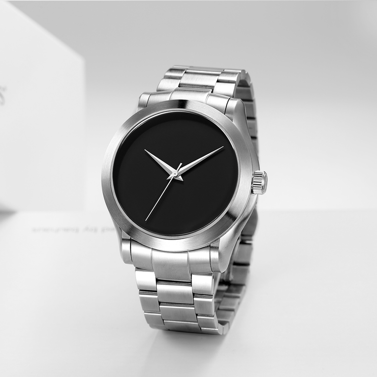 The Cronus - Silver Case |  Black Dial | Silver Stainless Steel Band