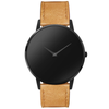 The Hades Black- Mens watch 45mm Tan Band Matte Black Case