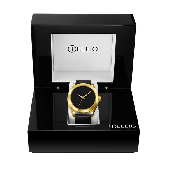 The Metis - Gold Case |  Black Dial | Black Leather Band