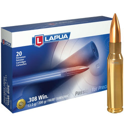 LAPUA AMMO 308 WINCHESTER 200gr FMJBT SUBSONIC
