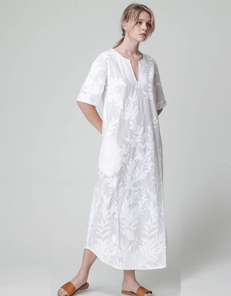 Dutchess caftan dress - white embroidery