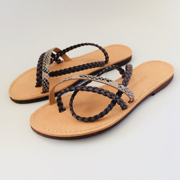 Greek salad sandals - grey/snake