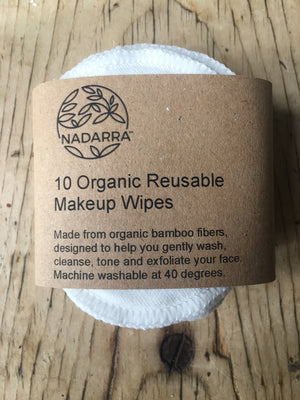 Pack of 10 reusable organic bamboo makeup remover pads
