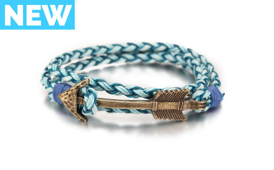 Blue Arrow Braided Leather Bracelet - Palama Bracelets