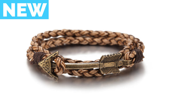 Brown Arrow Braided Leather Bracelet - Palama Bracelets